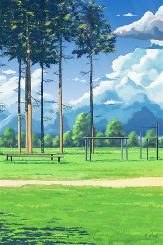 iPhone Wallpaper Anime, football playground