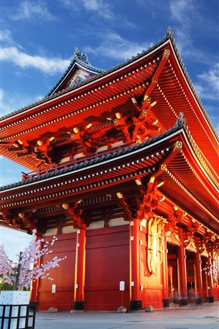 iPhone Wallpaper Asakusa Kannon Temple, evening, lights, blue sky, Tokyo, Japan