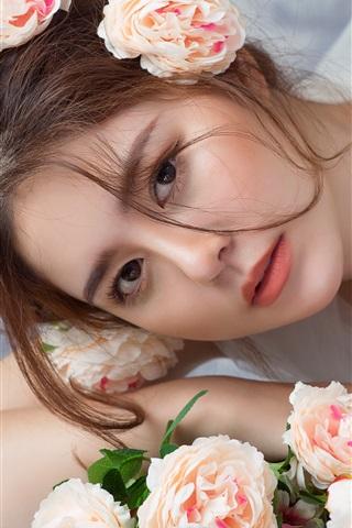 iPhone Wallpaper Asian girl, bride, roses