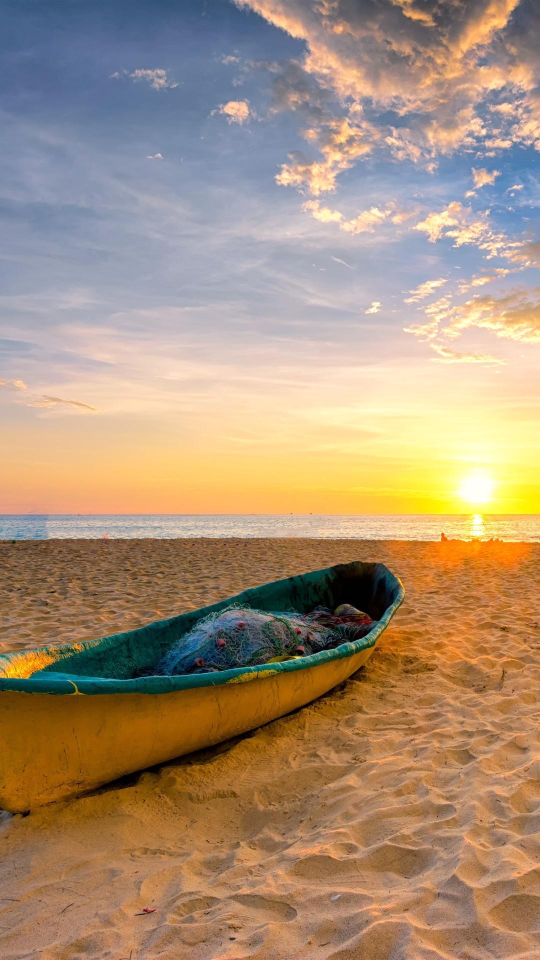Beach Sands Boat Sea Sunset 1125x2436 Iphone Xs X