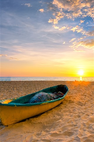 iPhone Wallpaper Beach, sands, boat, sea, sunset