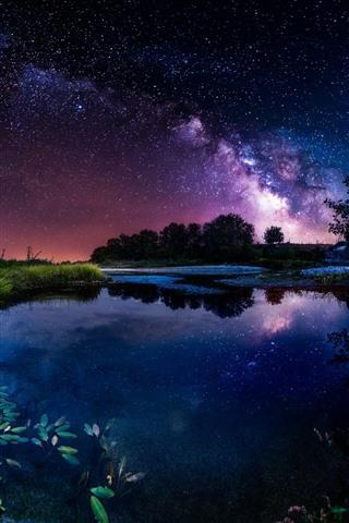 Beautiful night, pond, house, starry, sky, stars 750x1334 iPhone 8/7