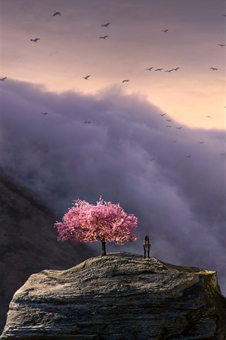 iPhone Wallpaper Big statue, people, flowers tree, clouds, birds, art picture