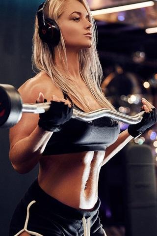 iPhone Wallpaper Blonde girl, fitness, sport, headphones, dumbbells, gym