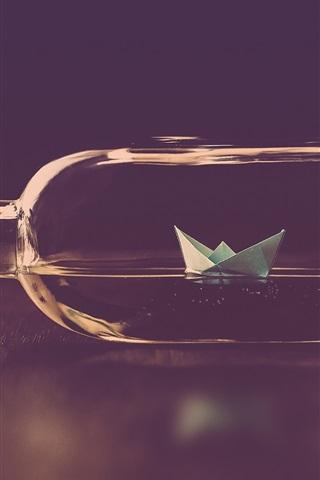 iPhone Wallpaper Bottle, paper boat, water