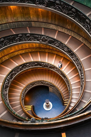 iPhone Wallpaper Bramante Staircase, spiral, Vatican Museums