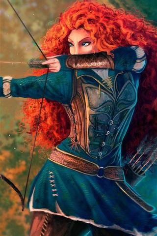 iPhone Papéis de Parede Corajoso, princesa, cabelo vermelho, arco, filme dos desenhos animados da Disney