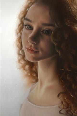 iPhone Wallpaper Brown hair girl, curls, face, portrait