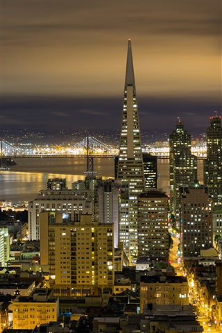 iPhone Wallpaper California, San Francisco, city night, buildings, lights