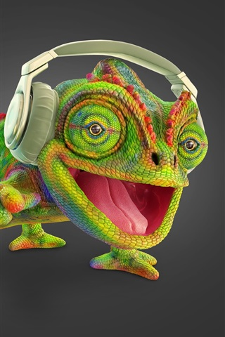iPhone Wallpaper Chameleon listen music, headphone, creative picture