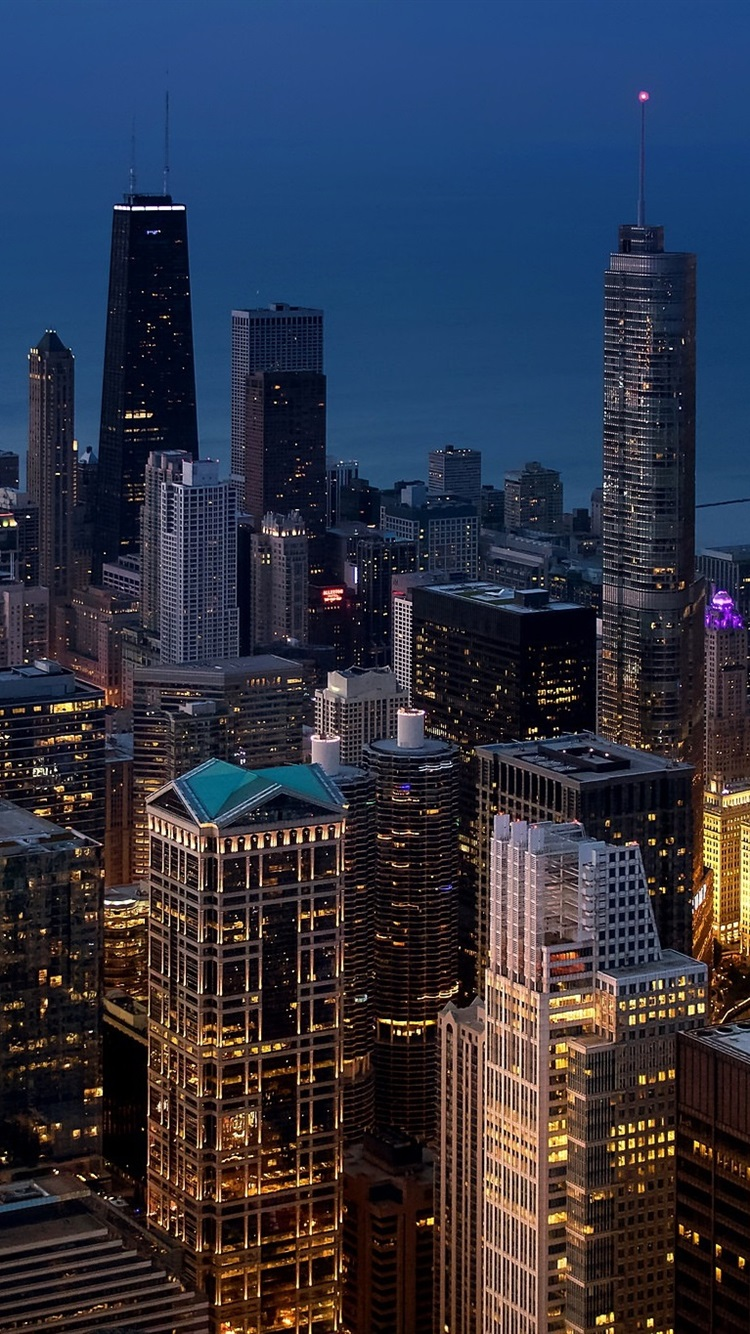 Chicago Megapolis City Skyscrapers Lights Night Usa