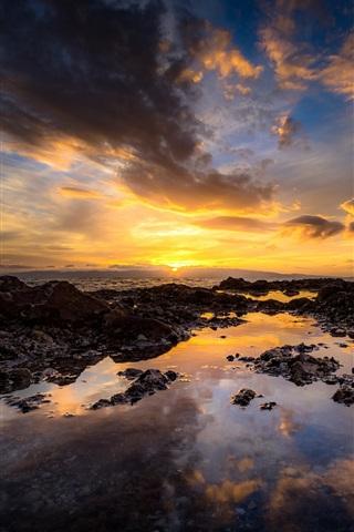 iPhone Wallpaper Coast, sea, ocean, clouds, sunset