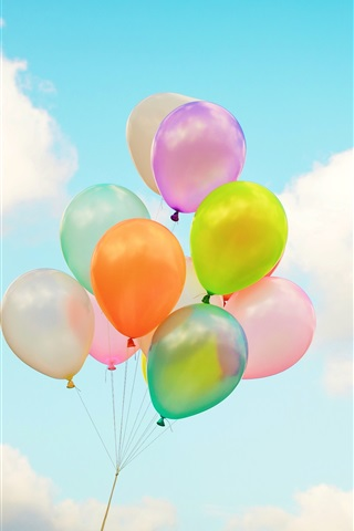 iPhone Wallpaper Colorful balloons, sky, clouds