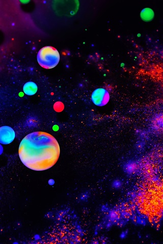 iPhone Wallpaper Colorful neon balls, abstract