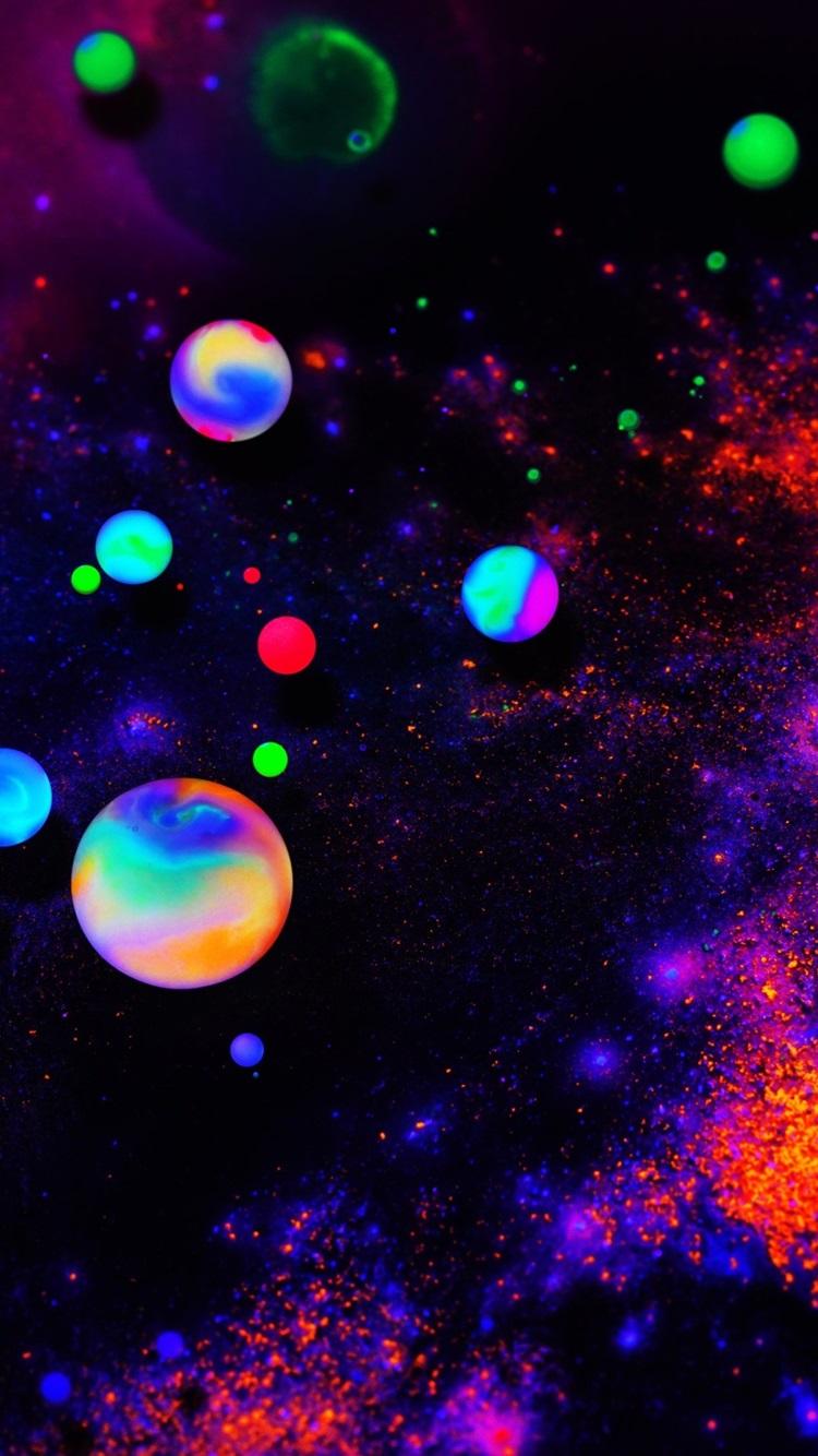Colorful neon balls, abstract 750x1334 ...