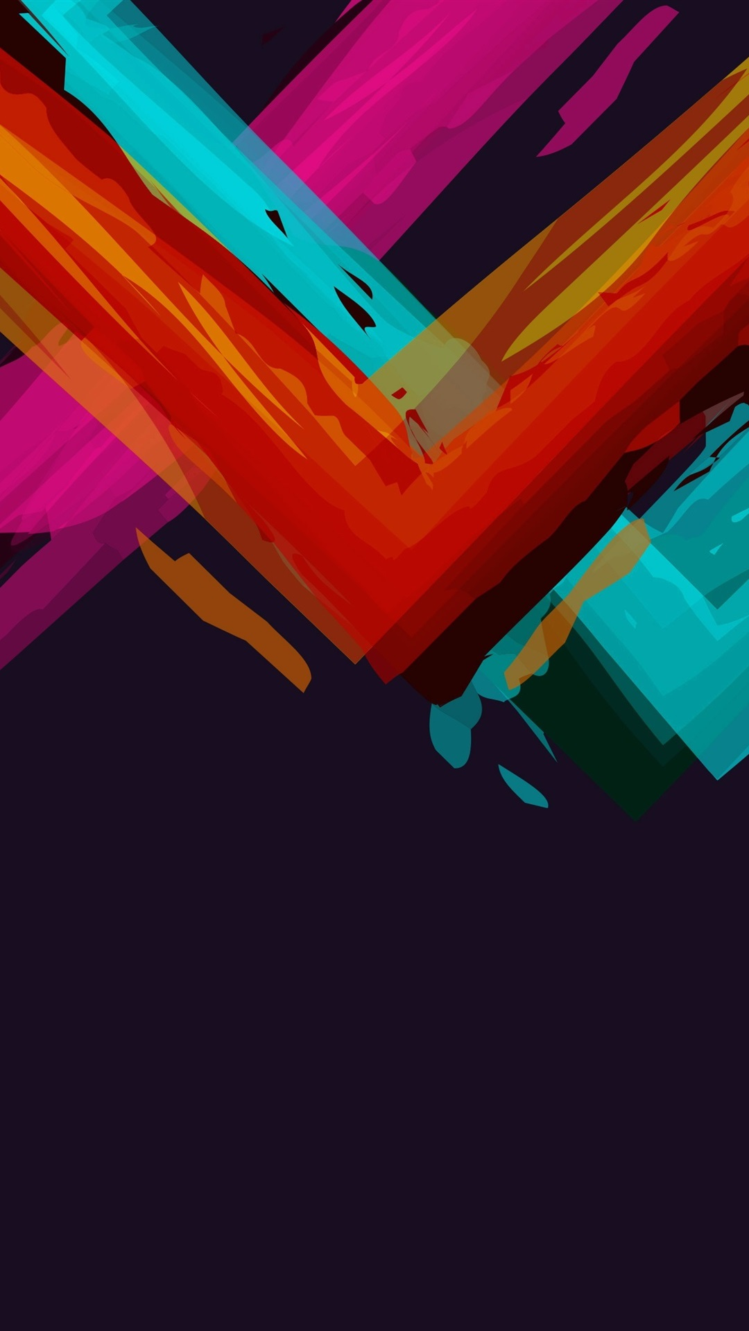 Colorful Paint Angles Black Background Abstract 1080x1920