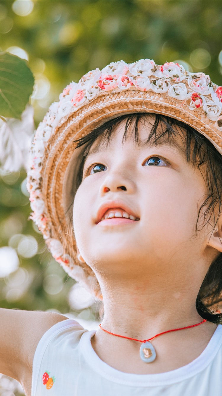 Wallpaper Cute Little Girl Hat Twigs Leaves 5120x2880