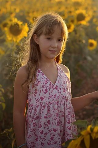 iPhone Wallpaper Cute little girl, sunflowers, sun rays