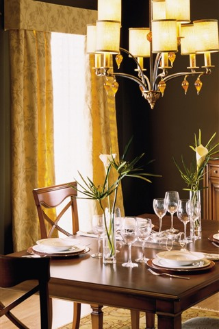 iPhone Wallpaper Dining room, table, furniture, lights, interior