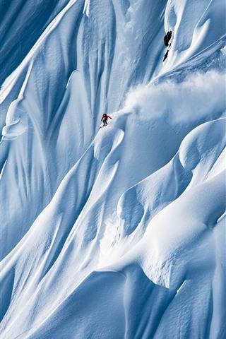 iPhone Wallpaper Extreme sport, mountains, snow, skier