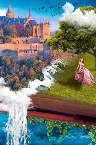 iPhone Wallpaper Fantasy, book, castle, tree, girl, waterfall, creative design