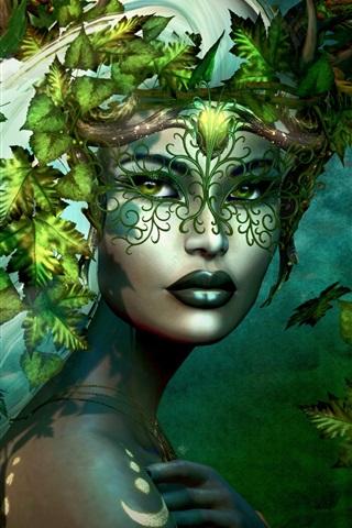 iPhone Wallpaper Fantasy girl, leaves, white hair