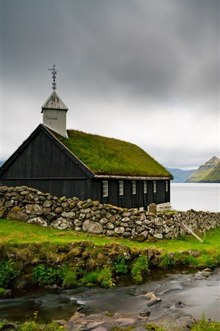 iPhone Wallpaper Faroe Islands, Church, sea, Denmark