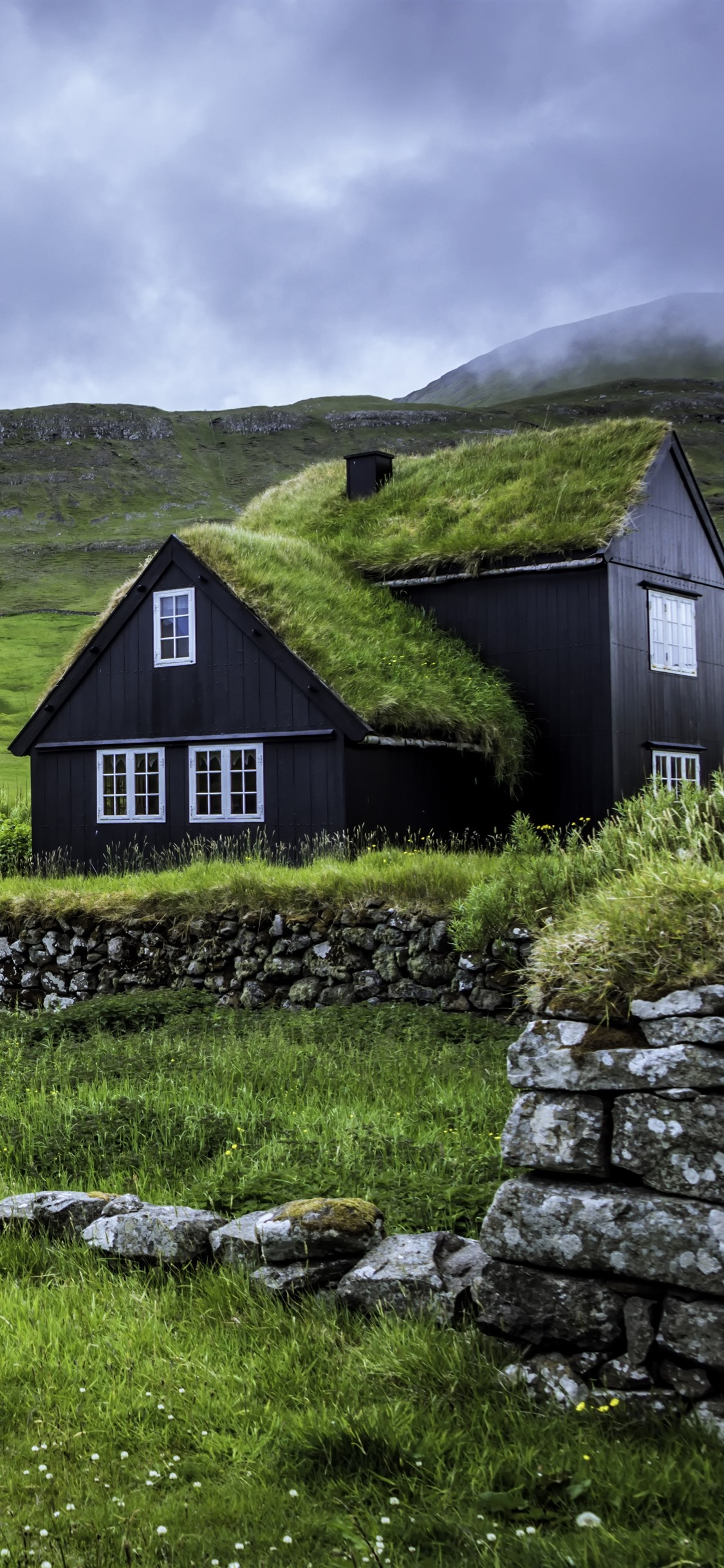 Faroe Islands Houses Green Grass Clouds 1125x2436 Iphone