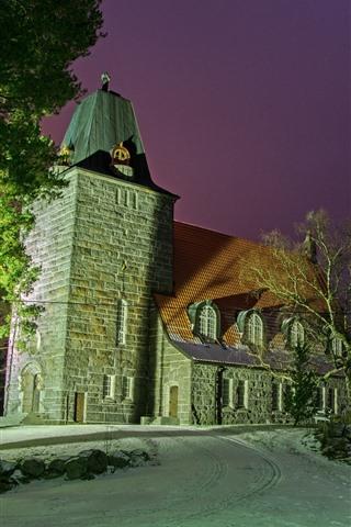 iPhone Wallpaper Finland, Church, trees, night
