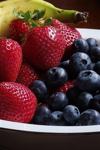 iPhone Wallpaper Fruit, blueberries, strawberry, banana, bowl, still life