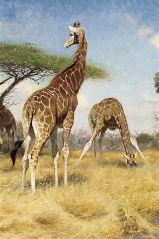iPhone Hintergrundbilder Giraffen, Kunstmalerei