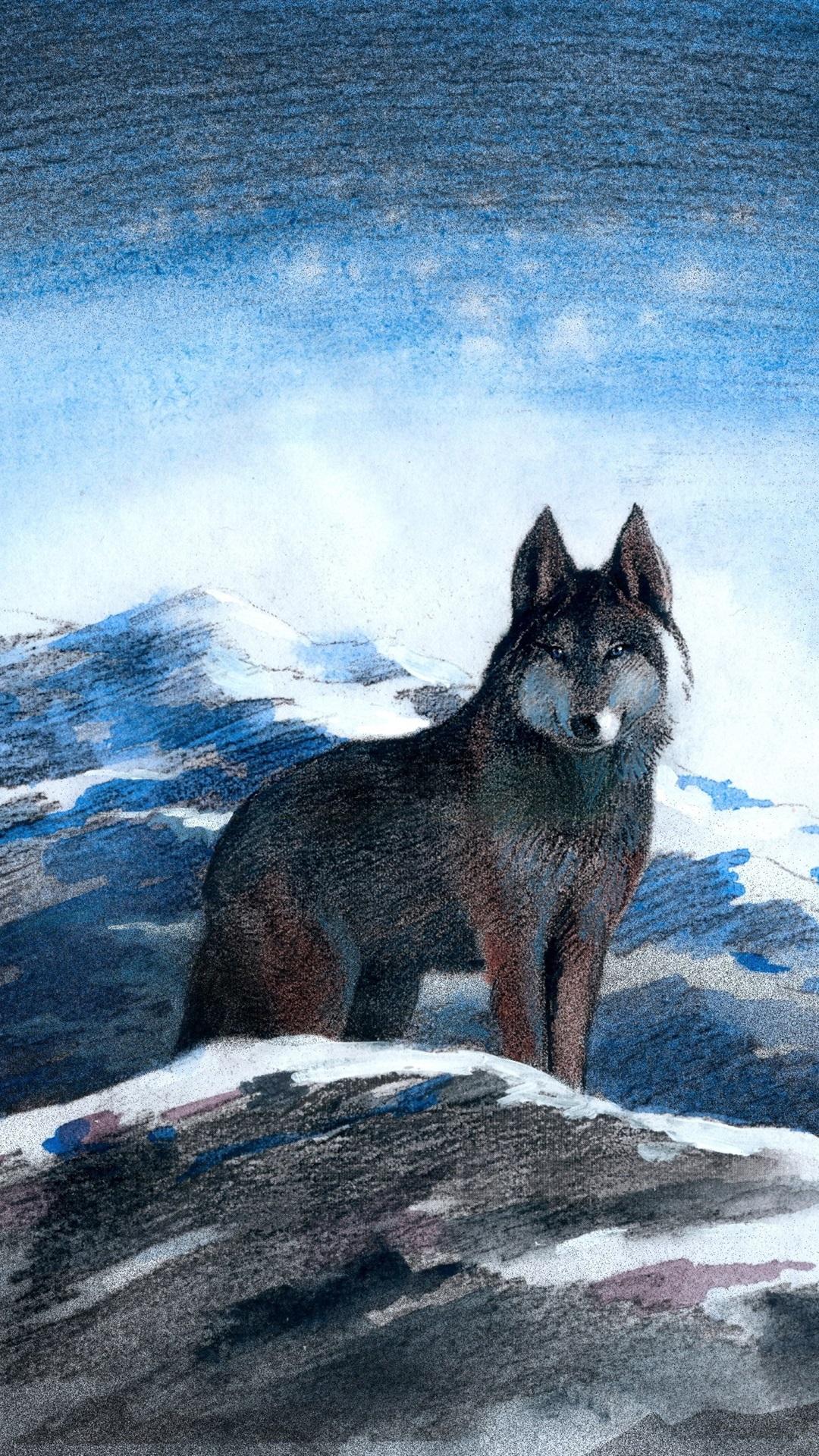 グレイオオカミ 山 雪 冬 アート写真 1080x1920 Iphone 8 7 6 6s