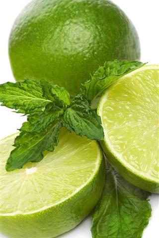 iPhone Wallpaper Green lemon, lime, white background