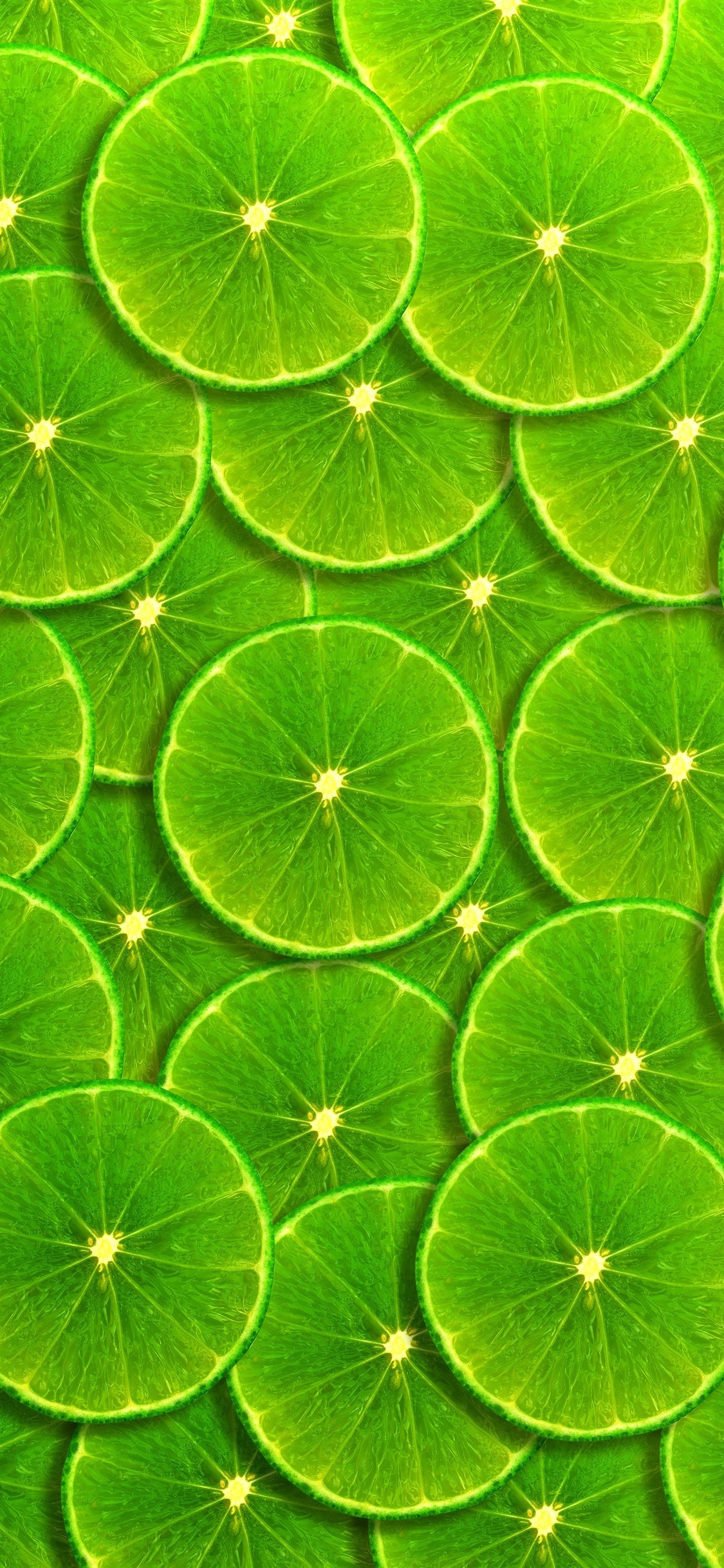 Green Lemon Slices Background 1125x2436 Iphone Xsx Wallpaper