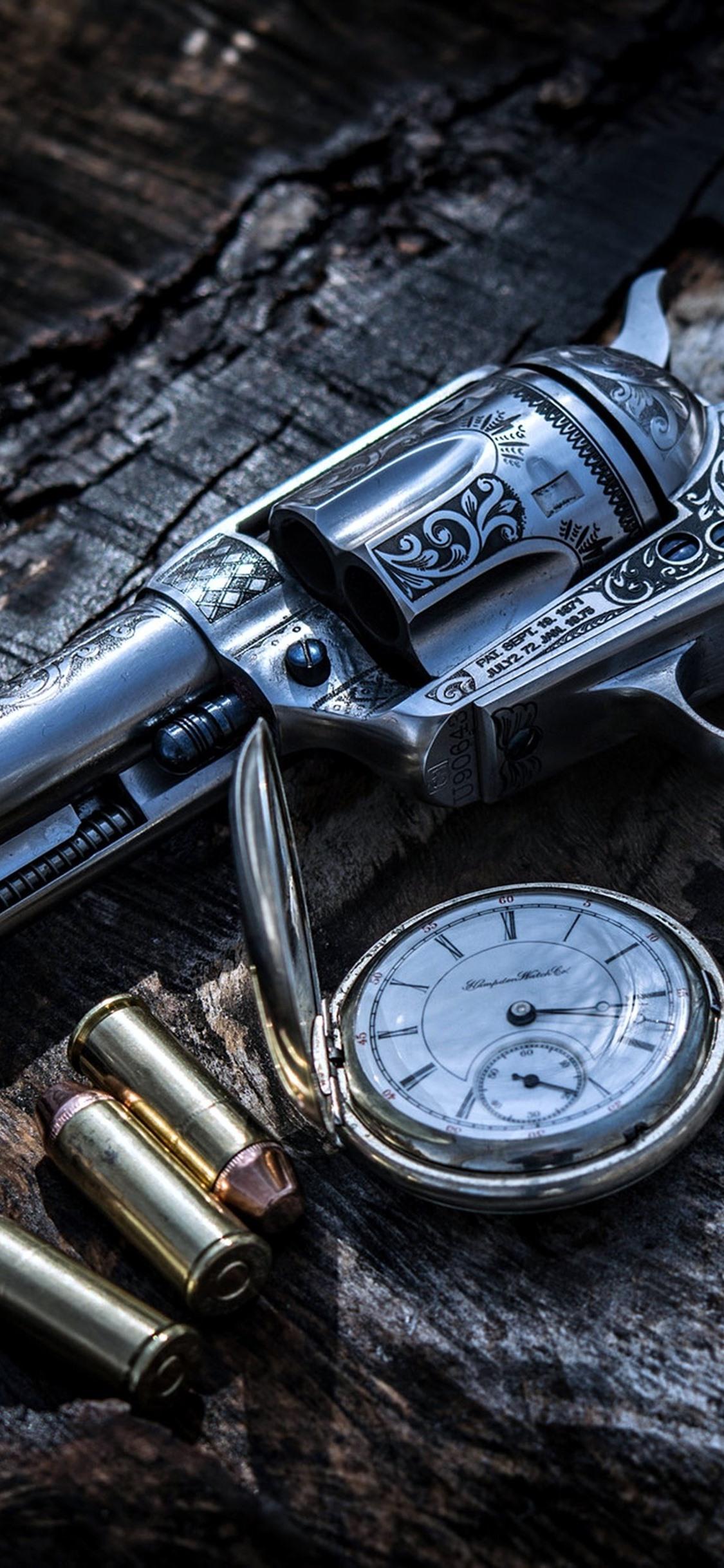 Gun Bullets Weapon Pocket Watch 1125x2436 Iphone Xs X