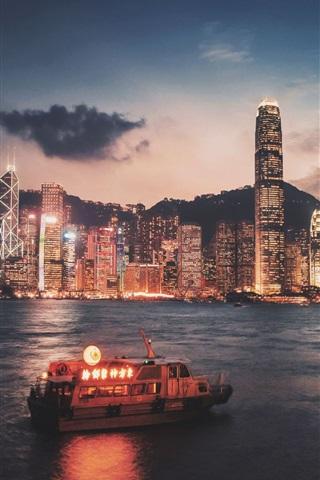 iPhone Wallpaper Hong Kong, Victoria port, skyscrapers, illumination, night, sea, ship