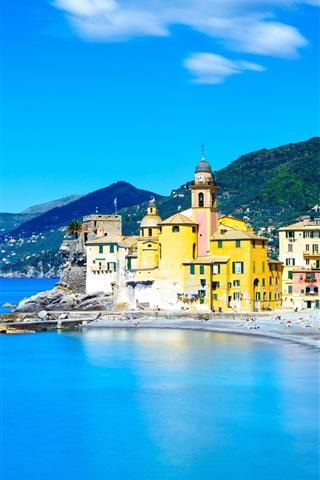 iPhone Wallpaper Italy, Camogli, Liguria, sea, houses, city, blue sky