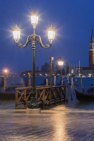 iPhone Wallpaper Italy, Venice, gondola, boats, river, night, lamps
