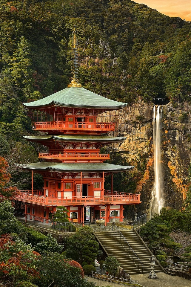 Japan Temple Waterfall Beautiful Landscape 750x1334