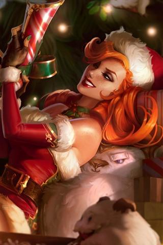 iPhone Papéis de Parede League of Legends, Miss Fortune, menina de Natal, imagens de arte