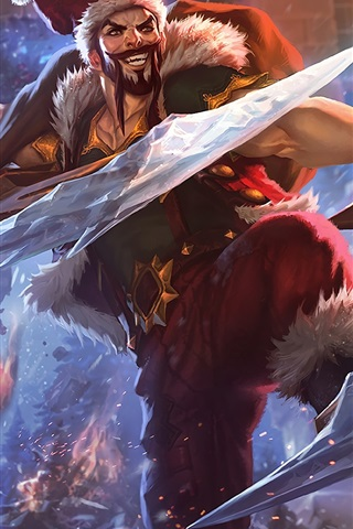 iPhone Wallpaper League of Legends, Santa, art picture