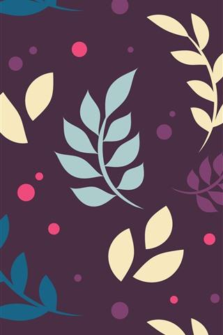 iPhone Papéis de Parede Folhas, fundo roxo, imagens de arte