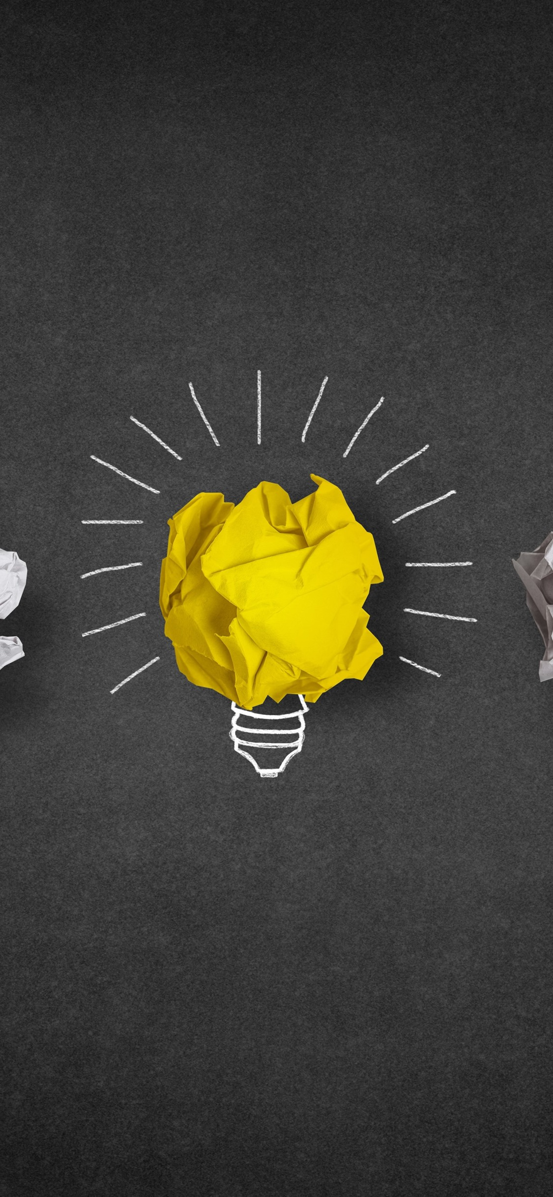 Light Bulb Yellow And White Paper Minimalist 1125x2436 Iphone Xs