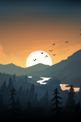 iPhone Wallpaper Mountains, hills, sunset, birds, art picture