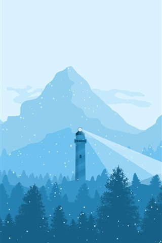 iPhone Wallpaper Mountains, trees, snowy, lighthouse, winter, art picture