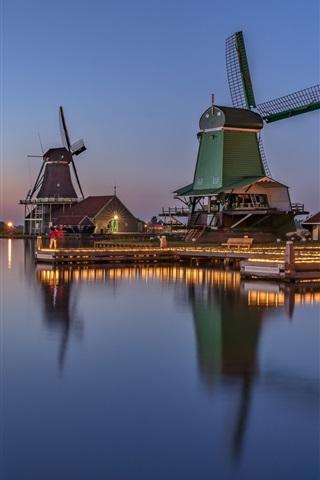 iPhone Wallpaper Netherlands, windmill, river, water reflection, dusk