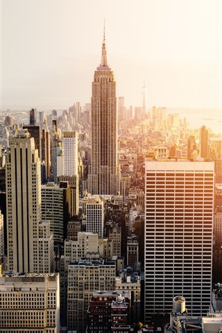 iPhone Wallpaper New York, city, skyscrapers, sunset