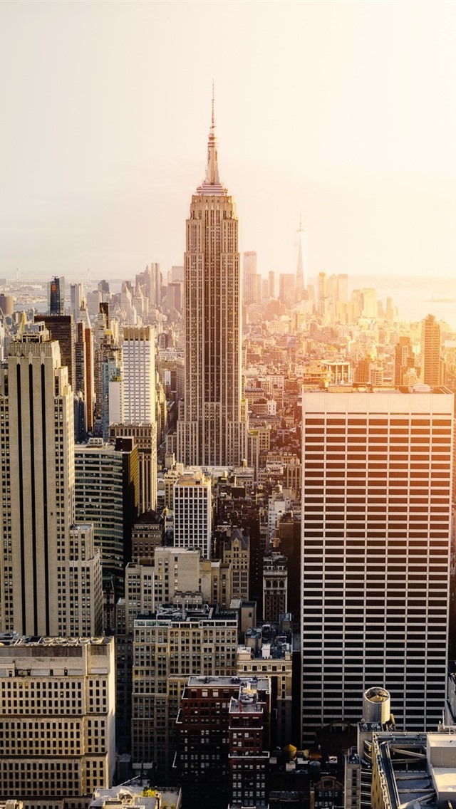 New York City Skyscrapers Sunset 640x1136 Iphone 5 5s 5c