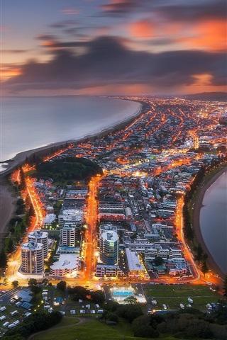 New Zealand Tauranga City Top View Lights Dusk Sea