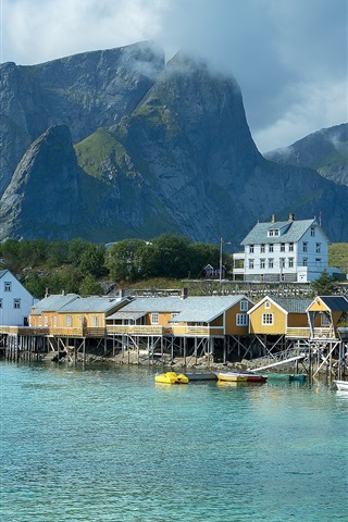 iPhone Wallpaper Norway, pier, houses, sea, mountains